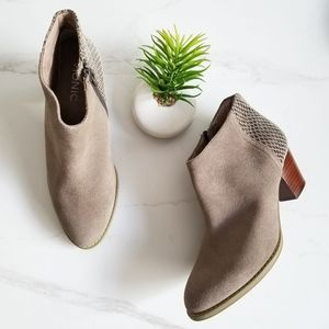 Vionic Bromley Booties Taupe Suede Snake Print